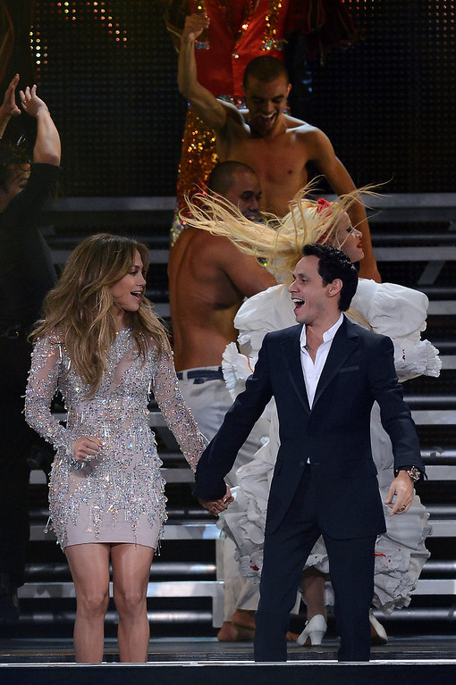 . LAS VEGAS, NV - MAY 26:  Singer/actress Jennifer Lopez (L) and singer Marc Anthony appear during the finale of the Q\'Viva! The Chosen Live show at the Mandalay Bay Events Center on May 26, 2012 in Las Vegas, Nevada.  (Photo by Ethan Miller/Getty Images)