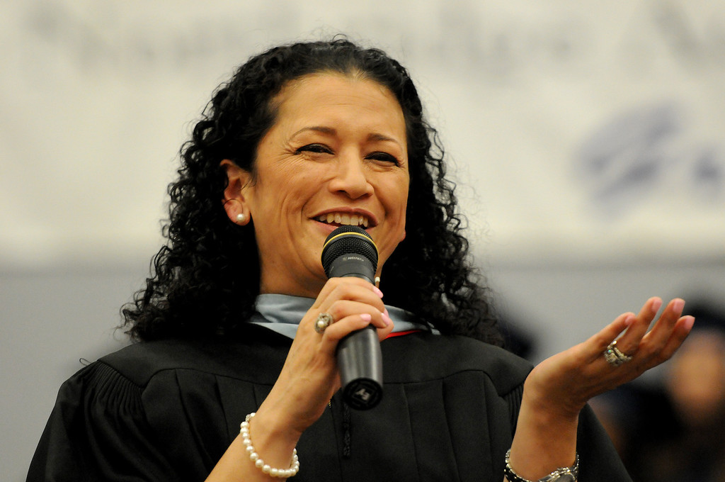 . Principal Nidia E. Castro speaks to the audience at the Northridge Academy High School graduation ceremony on Thursday, June 5, 2014. (Photo by Dean Musgrove/Los Angeles Daily News)