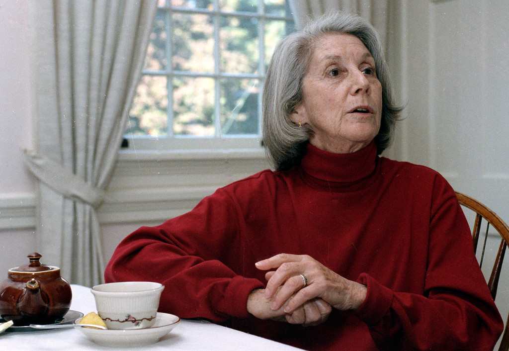 . Nadine Gordimer, a South African writer and recent Nobel Laureate, speaks Monday, Oct. 8, 1991 in an interview during a two-day visit to the University of Massachusetts in Amherst, Mass. Gordimer was named winner of the prize on Oct. 3 and is the first woman in gain the Nobel Prize for Literature in 25 years. (AP Photo/Lisa Bul)