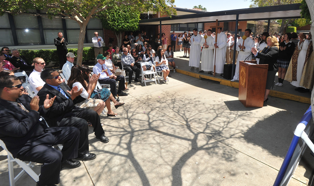 . Principal Kate Aceves, right, thanks benefactors as they celebrate their new $650,000 Science Center at St. Paul High School in Santa Fe Springs on Thursday May 2, 2013. The Science Program and Technology Infrastructure will enable the school to offer state-of-the-art science programs. (SGVN/Staff Photo by Keith Durflinger)
