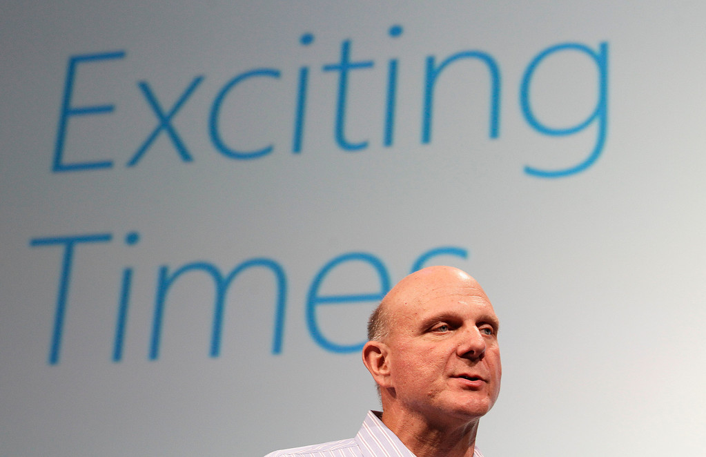 . Microsoft CEO Steve Ballmer speaks at a Microsoft event in San Francisco, Monday, July 16, 2012. (AP Photo/Jeff Chiu)