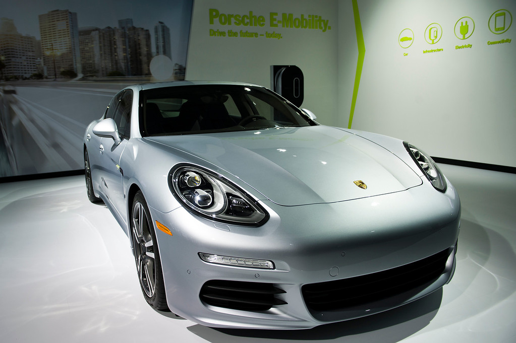 . A Porsche Panamera S E-Hybrid on display at Los Angeles Auto Show on Wednesday, Nov. 20, 2013, in Los Angeles. (Photo by Watchara Phomicinda/San Gabriel Valley Tribune)