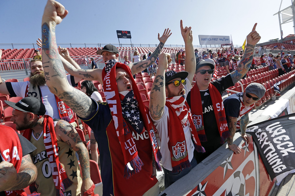 . U.S. soccer fans cheer before the start an World Cup qualifying soccer match between Honduras and the U.S. at Rio Tinto Stadium on Tuesday, June 18, 2013, in Sandy, Utah.  (AP Photo/Rick Bowmer)