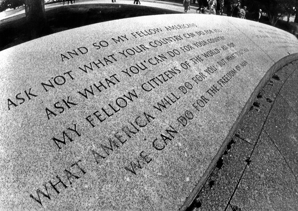. The words of JFK are immortalized at Arlington National Cemetery. (Associated Press)