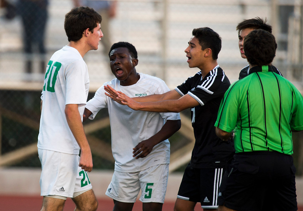 . In the second half of Boys soccer, South Pasadena at Monrovia on Wednesday, Jan. 8, 2013. Monrovia won 5-1. (Photo by Watchara Phomicinda/ Pasadena Star-News)