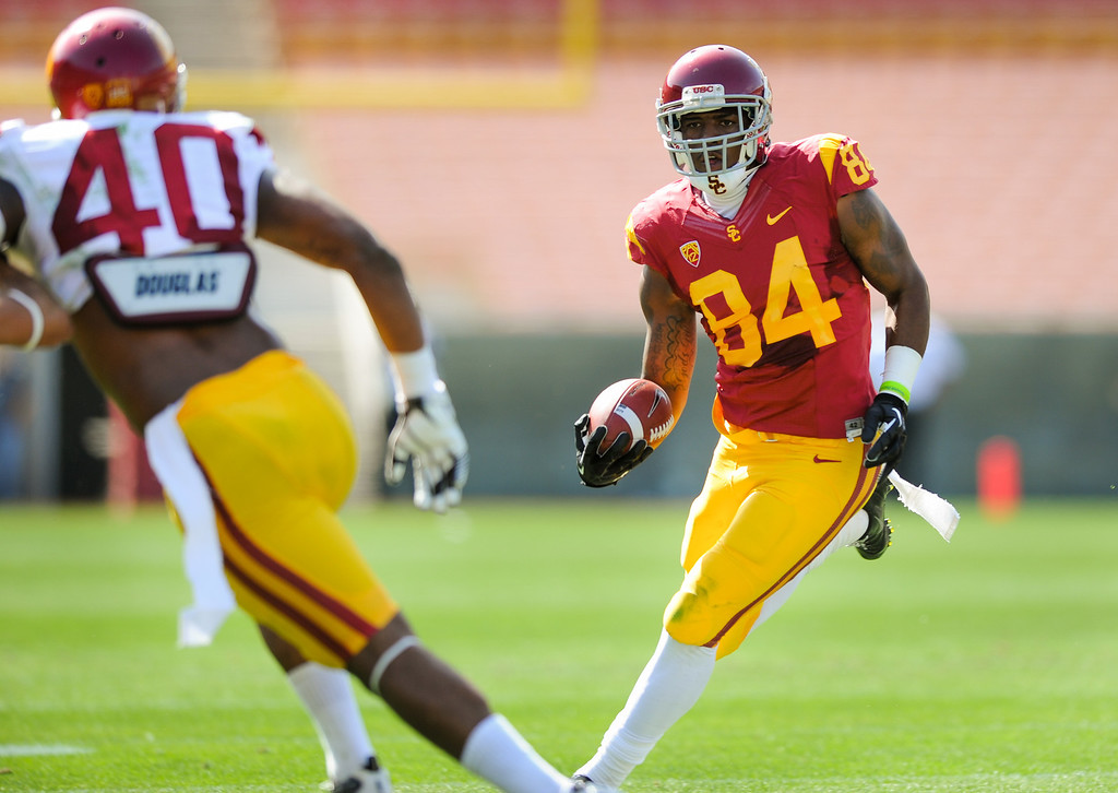 . USC WR Darreus Rogers tries to get past LB Jabari Ruffin during their spring game, Saturday, April 19, 2014, at the Coliseum. (Photo by Michael Owen Baker/L.A. Daily News)
