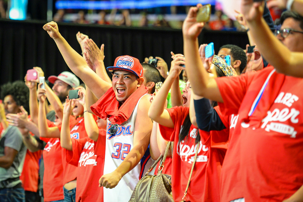 . Fans cheer for new Clippers owner Steve Ballmer at Staples Center during a fan rally Monday August 18, 2014.  ( Photo by David Crane/Los Angeles Daily News )