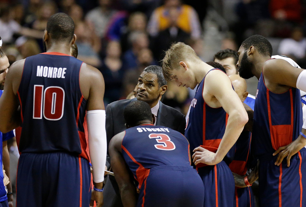 . Detroit Pistons head coach Maurice Cheeks talks to his team during a timeout in the second half of an NBA basketball game against the Los Angeles Lakers at the Palace in Auburn Hills, Mich., Friday, Nov. 29, 2013. (AP Photo/Carlos Osorio)