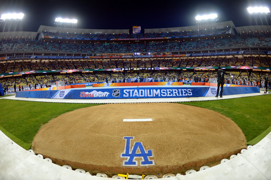 . The pitching mound looking towards home plate prior to the start of the inaugural NHL Stadium Series game between the Anaheim Ducks and the Los Angeles Kings at Dodger Stadium in Los Angeles on Saturday, Jan. 25, 2014. (Keith Birmingham Pasadena Star-News)