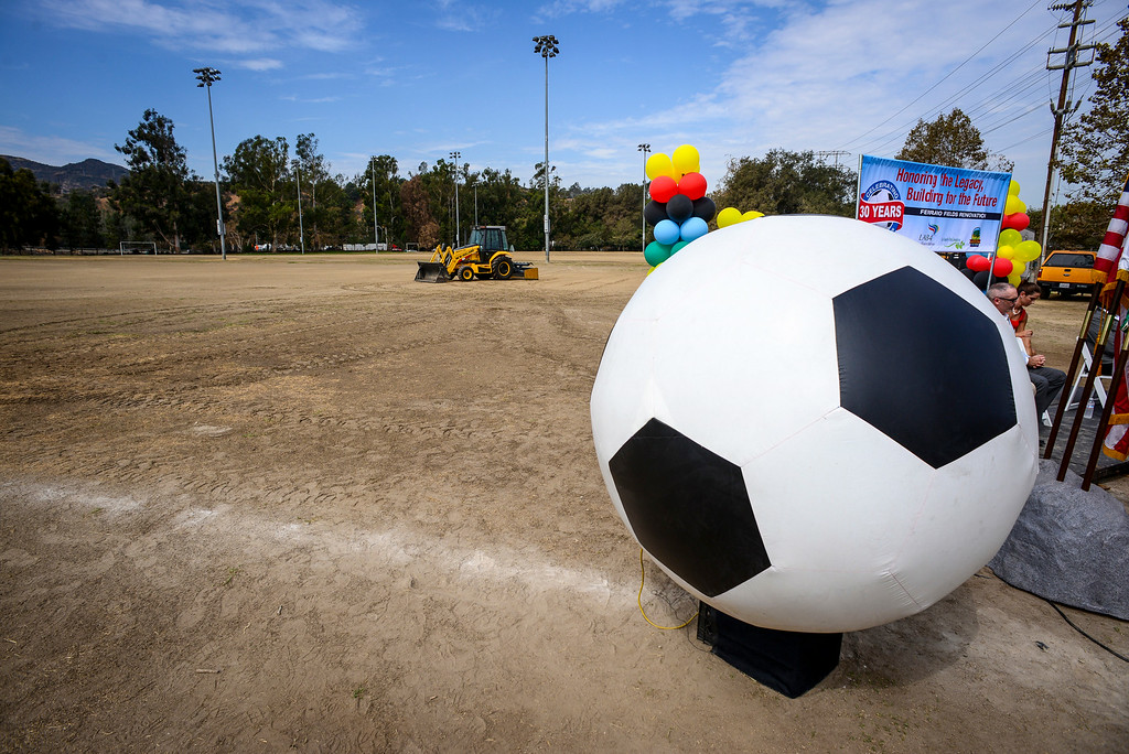 . The John Ferraro Soccer Fields at Griffith Park are so widely used that they have become fields of dirt.  The city plans to work with the LA84 Foundation to help raise the 10 million necessary to renovate the fields and convert them to artificial turf.   ( Photo by David Crane/Los Angeles Daily News )