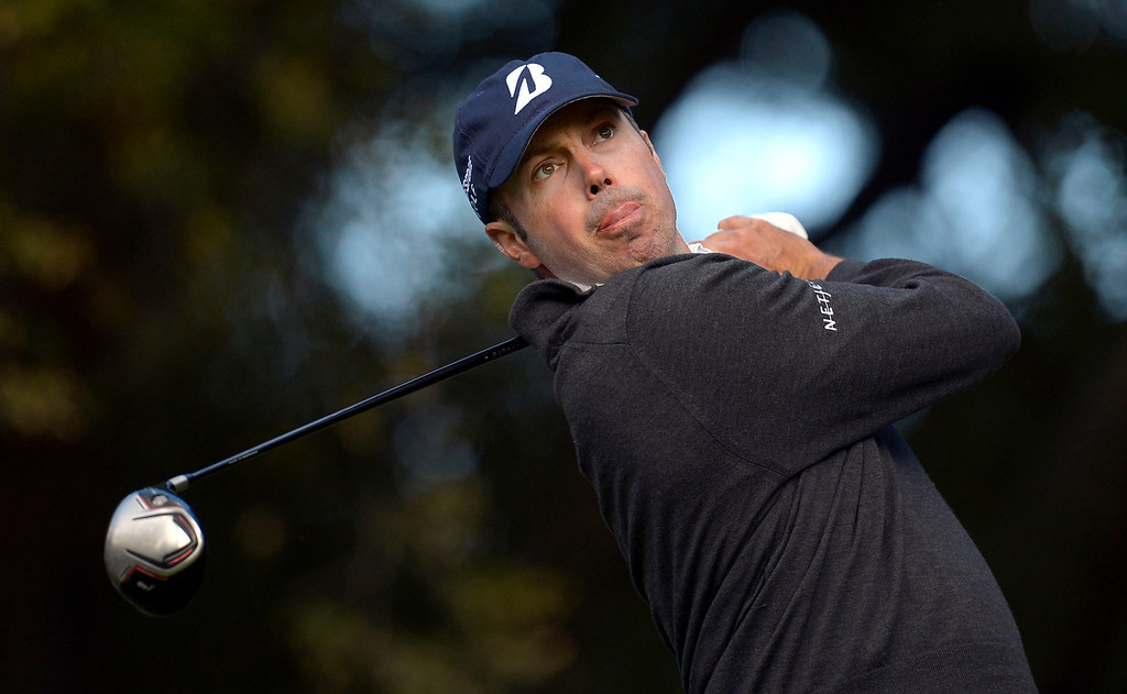 . Matt Kuchar hits a shot off the tee on the 6th hole during the first-round of Tiger Woods\' Northwestern Mutual World Challenge at Sherwood Country Club in Thousand Oaks, CA Thursday December 5, 2013.  Kuchar finished the day at 4 under par and in 2nd place.(Andy Holzman/Los Angeles Daily News)
