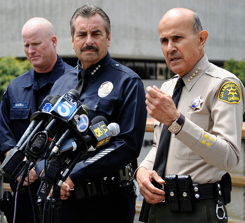 . June 6,2013 Los Angeles CA. Los Angeles county sheriff commander Lee Baca(R.) talks to the media after a live demonstration involving Multi-Assault Counter-Terrorism Action Capabilities (MACTAC) and the deployment of the Stabilization Team Los Angeles in response to a weapon of mass destruction devise.  This demonstration included officer�s deploying from a helicopter and the utilization of blank ammunition.