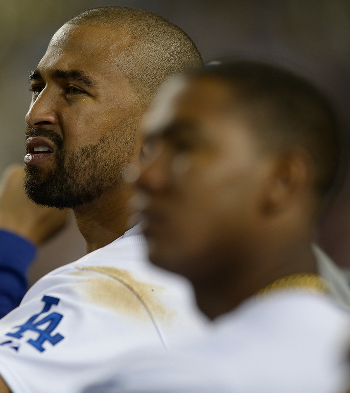 . Matt Kemp reacts to a called strike in the 8th inning. The Dodgers defeated the San Diego Padres 8-6 at Dodger Stadium. Los Angeles, CA. 8/19/2014(Photo by John McCoy Daily News)