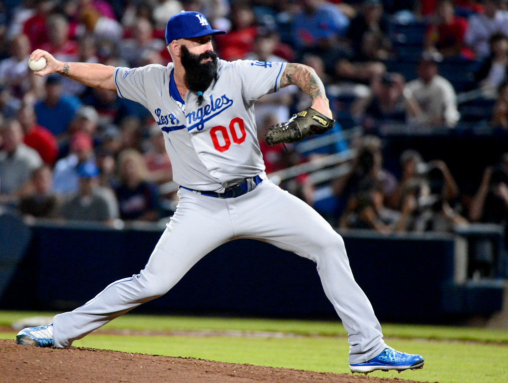 . Los Angeles Dodgers\' Brian Wilson pitches the eight inning as they defeat the Atlanta Braves 6-1 in the first game of the playoffs Thursday, October 3, 2013 at Turner Field in Atlanta, Georgia. (Photo by Sarah Reingewirtz/Pasadena Star- News)