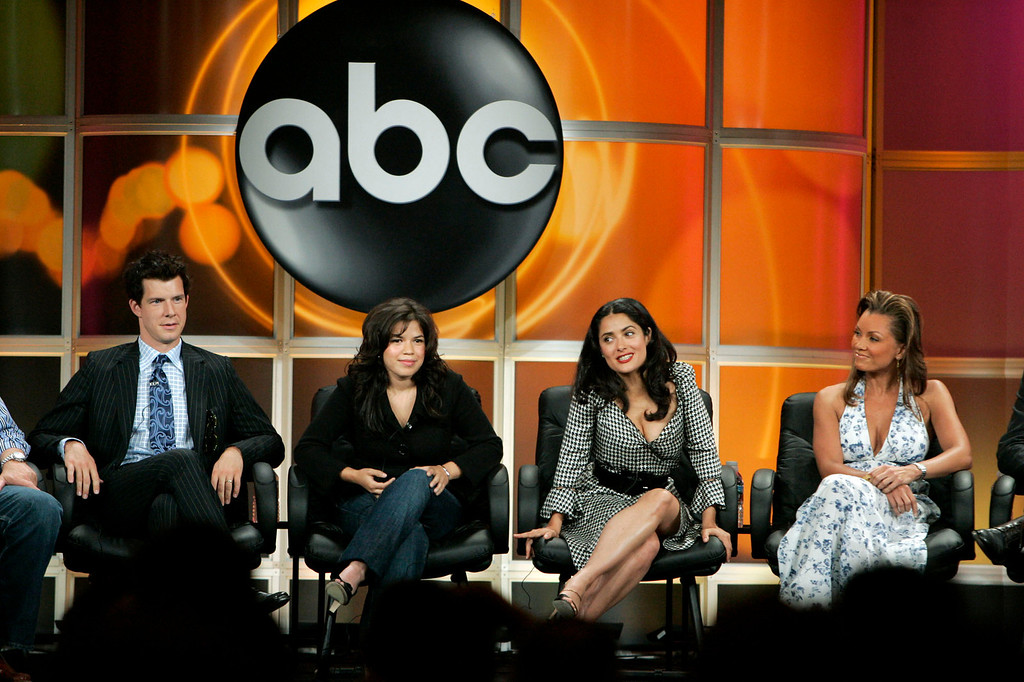 ". Actress Salma Hayek, second from right, executive producer of ABC\'s ""Ugly Betty,\"" and cast members Eric Mabius, left, America Ferrera, second from left, and Vanessa Williams attend the 2006 Summer Television Critics Association Press Tour Tuesday, July 18, 2006, in Pasadena, Calif. (AP Photo/Ric Francis)"