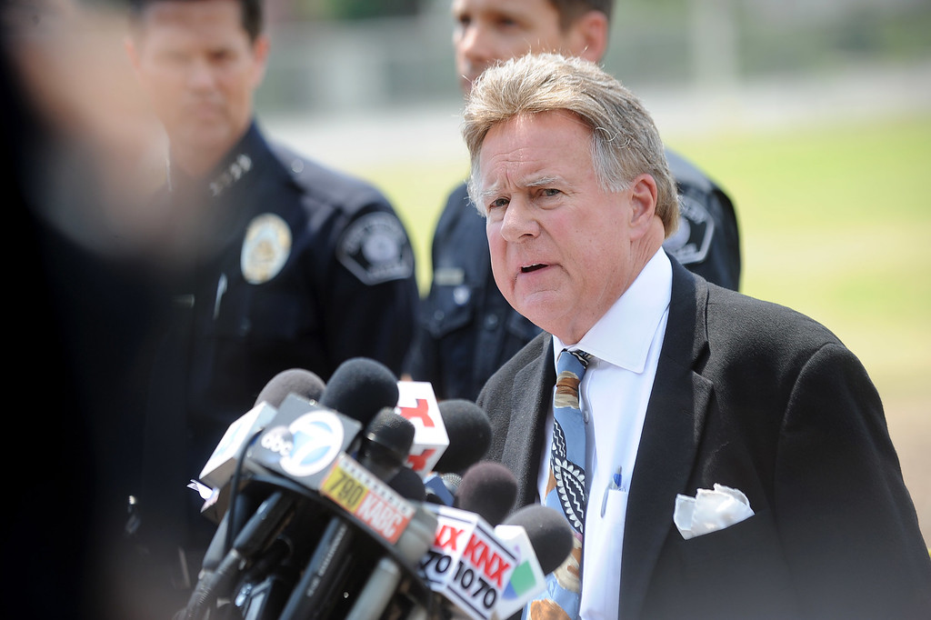 . Simi Valley Mayor Bob Huber speaks during a news conference regarding the Fourth of July fireworks show accident which injured 28 people at Rancho Santa Susana Community Park in Simi Valley, CA July 5, 2013.     (Andy Holzman/Los Angeles Daily News)