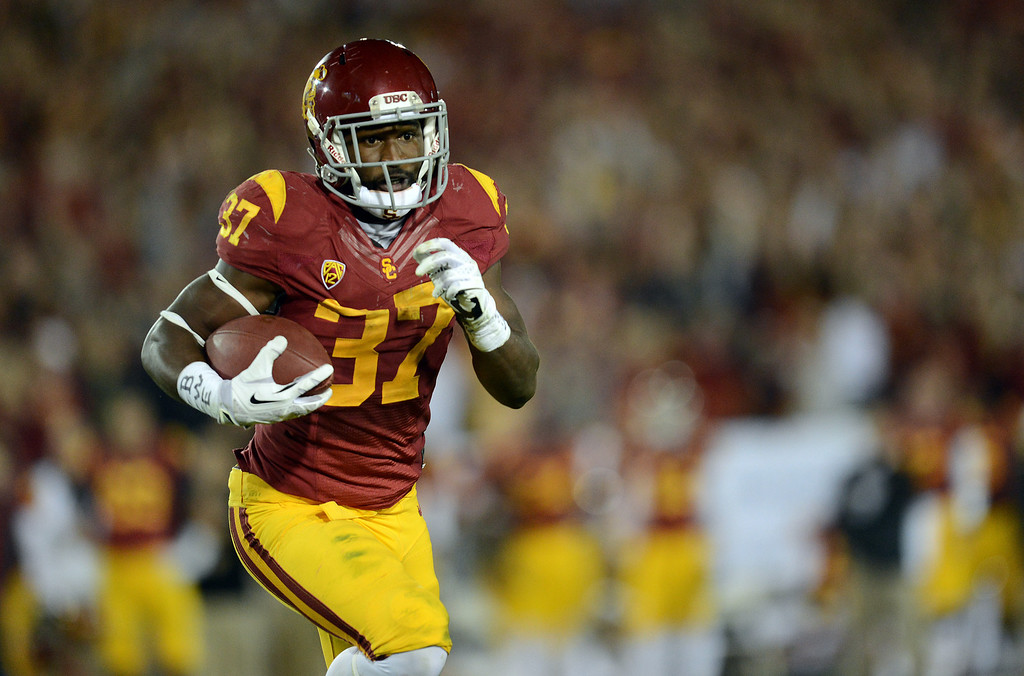. USC�s Javorius Allen #37 heads for the end zone for a first half touchdown during their game against Stanford at the Los Angeles Memorial Coliseum Saturday, November 16, 2013. (Photos by Hans Gutknecht/Los Angeles Daily News)