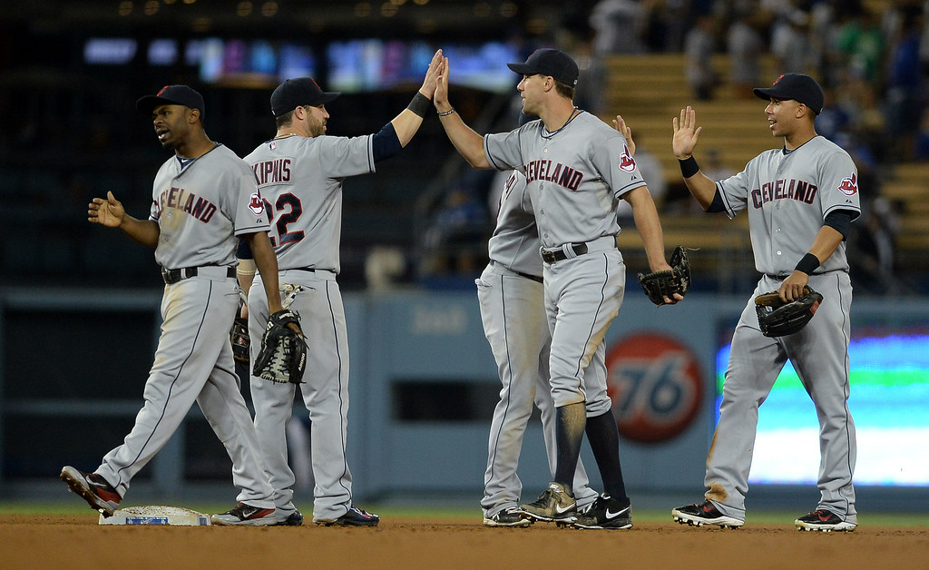 . The Los Angeles Dodgers fall to the Cleveland Indians 10-3 July 1, 2014 in Los Angeles.(Andy Holzman/Los Angeles Daily News)
