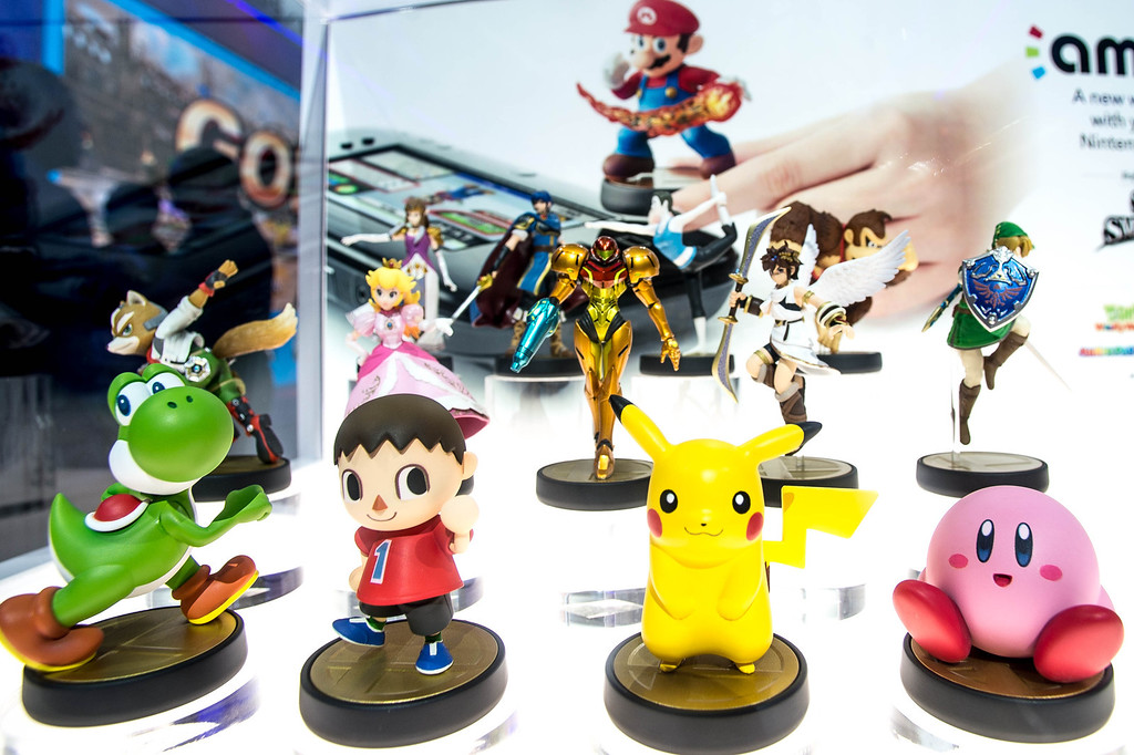 . Amiibo characters for Wii U are on display at the Nintendo booth during the Electronic Electronic Entertainment Expo in Los Angeles on Tuesday, June 10, 2014. (Photo by Watchara Phomicinda)