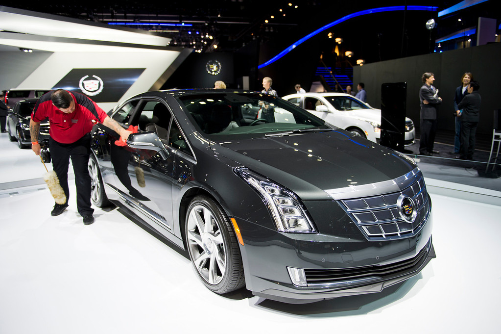 . The 2014 Cadillac ELR, Extended Range Electric car, at Los Angeles Auto Show on Wednesday, Nov. 20, 2013, in Los Angeles. (Photo by Watchara Phomicinda/San Gabriel Valley Tribune)