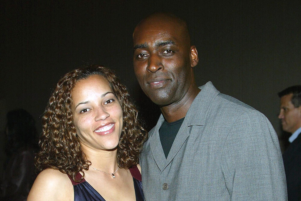 ". Actor Michael Jace (R) and  April attend the third season premiere screening of ""The Shield\"" at the Zanuck Theater on March 8, 2004 in Los Angeles, California. The series \""The Shield\"" will premiere on the FX Network on March 9, 2004.  (Photo by Frederick M. Brown/Getty Images)"