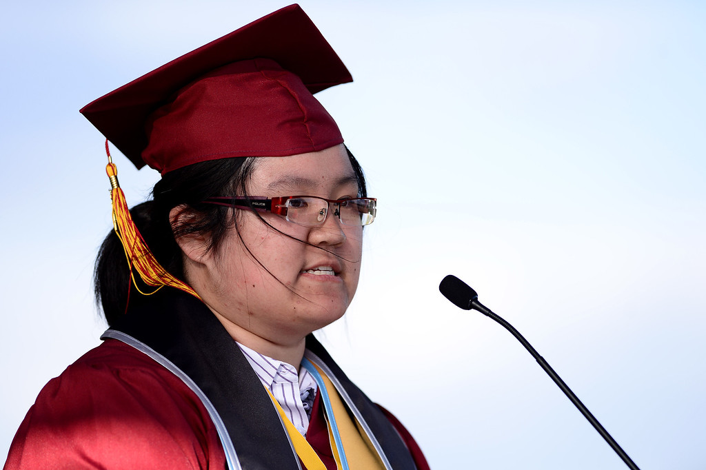 . Stephanie Gu gives the valedictorian address during Wilson High School\'s forty-seventh commencement ceremony Tuesday evening, May 20, 2014 at the Hacienda Heights school. (Photo by Sarah Reingewirtz/Pasadena Star-News)