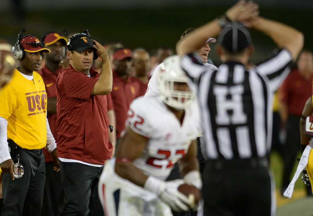 . Coach Steve Sarkisian on the sidelines in the 4th quarter. USC defeated Fresno State 52-13 at the Los Angeles Memorial Coliseum. Los Angeles, CA. 8/30/2014(Photo by John McCoy Daily News