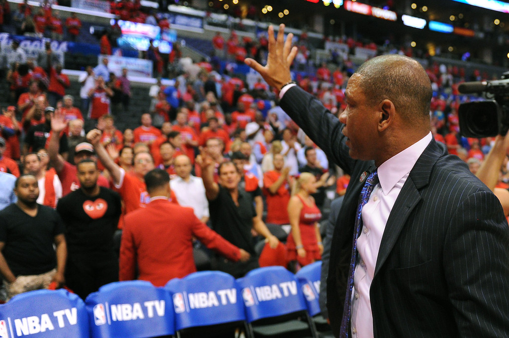 . Clippers coach Doc Rivers waves to fans after losing to the Thunder 104-98, Thursday, May 15, 2014, at Staples Center. (Photo by Michael Owen Baker/Los Angeles Daily News)