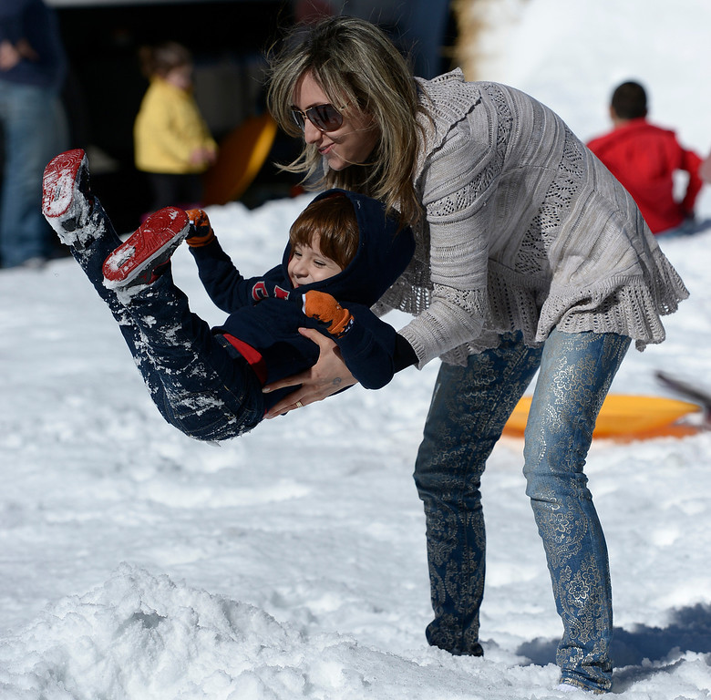 . Angineh Saryan plays with her son David Mirzaian. The Armenian Relief Society is hosting a two-day Winter Wonderland event this weekend, with snow, entertainment, games and amusement rides. Held at the Armenian Apostolic Church in Glendale.  Glendale, CA. February 1, 2014 (Photo by John McCoy / Los Angeles Daily News)