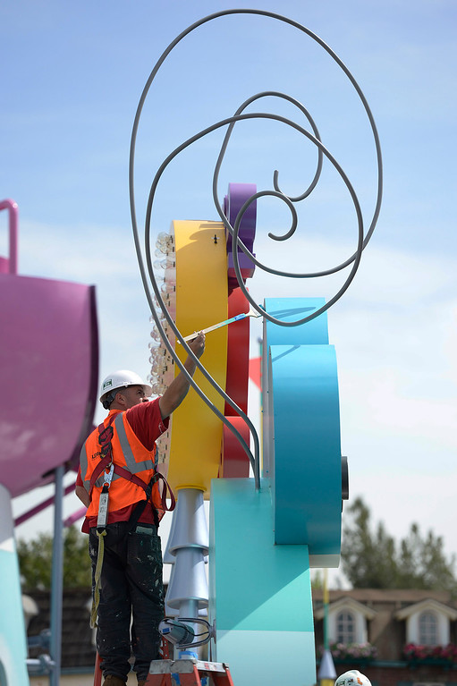 . Finishing touches are painted on the Super Silly Fun Land at Universal Studios Hollywood. The park will soon open the Despicable Me Minion Mayhem and Super Silly children\'s play area.  Universal City,CA. March 20, 2014 (Photo by John McCoy / Los Angeles Daily News)