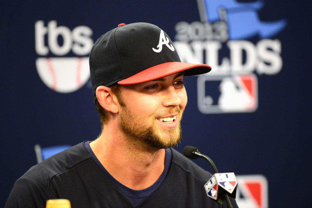 . The Atlanta Braves pitcher Mike Minor, starting pitcher for game 2, speaks to the press before the first game of the playoffs Thursday, October 3, 2013 at Turner Field in Atlanta, Georgia. (Photo by Sarah Reingewirtz/Pasadena Star- News)