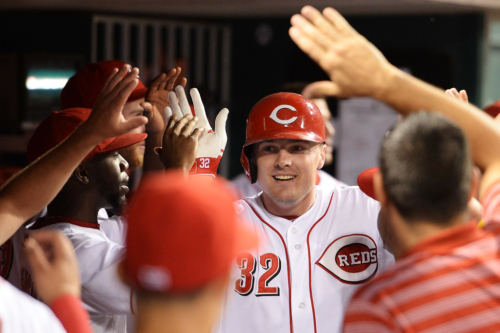 . CINCINNATI, OH - SEPTEMBER 8:  Jay Bruce #32 of the Cincinnati Reds celebrates his second home run of the game against the Los Angeles Dodgers in the fourth inning at Great American Ball Park on September 8, 2013 in Cincinnati, Ohio. Cincinnati defeated Los Angeles 3-2 to sweep the series.  (Photo by Jamie Sabau/Getty Images)