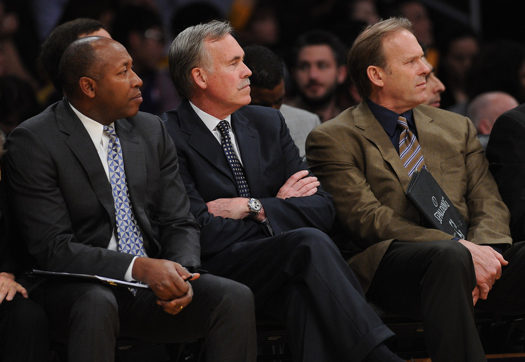 . The Laker coaching staff Johnny Davis, Mike D\'Antoni and Kurt Rambis. The Indiana Pacers defeated the Los Angeles Lakers 104 to 92 in a game played at Staples Center in Los Angeles, CA. January 28, 2014 (Photo by John McCoy / Los Angeles Daily News)