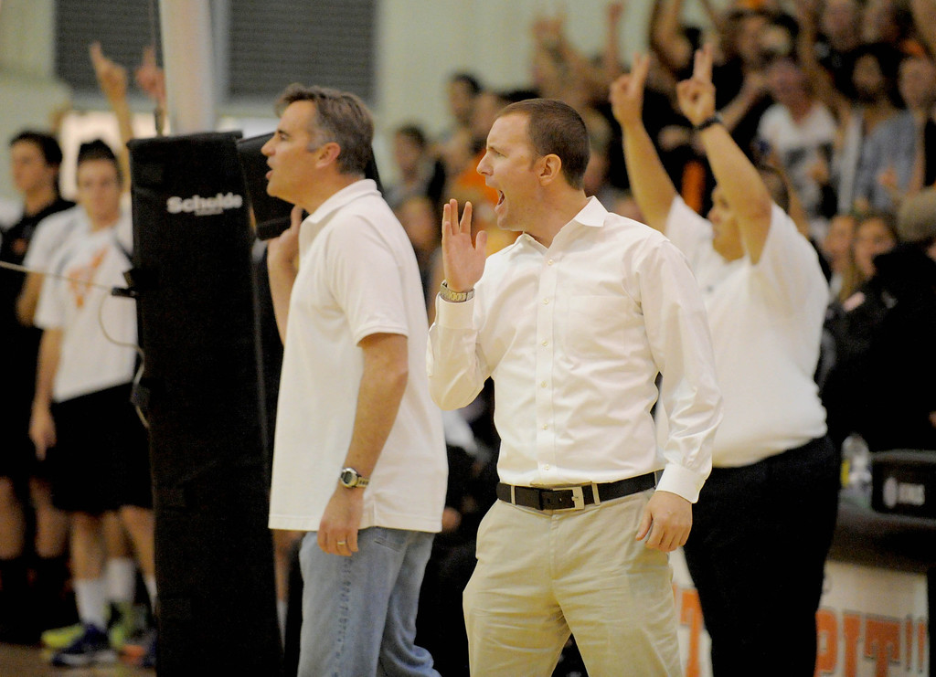 . 05-15-2013-( Daily Breeze Staff Photo by Sean Hiller) Huntington Beach swept Mira Costa in Wednesday\'s  boys volleyball CIF Southern Section Division I semifinal at Huntington Beach High School.