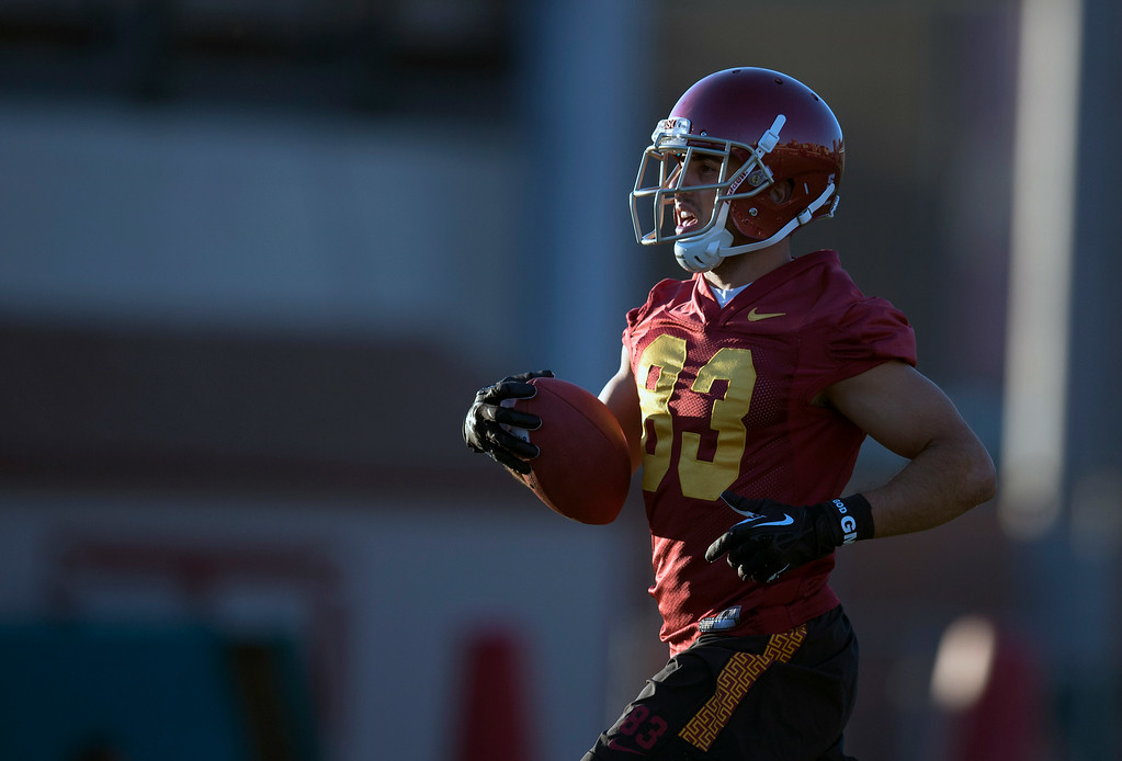 . George Katrib #83 during practice at USC, Howard Jones Field on the USC campus in Los Angeles, Monday, August 4, 2014. (Photo by Hans Gutknecht/Los Angeles Daily News)