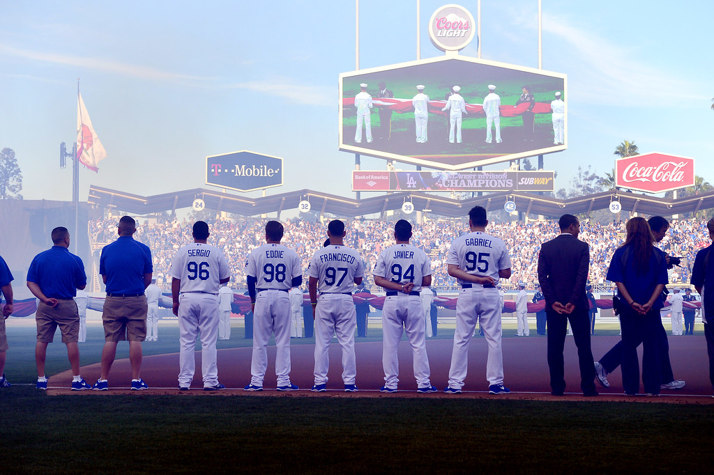 . Pre-game ceremonies during game 3 of the NLDS at Dodger Stadium Sunday, October 6, 2013. (Photo by David Crane/Los Angeles Daily News)