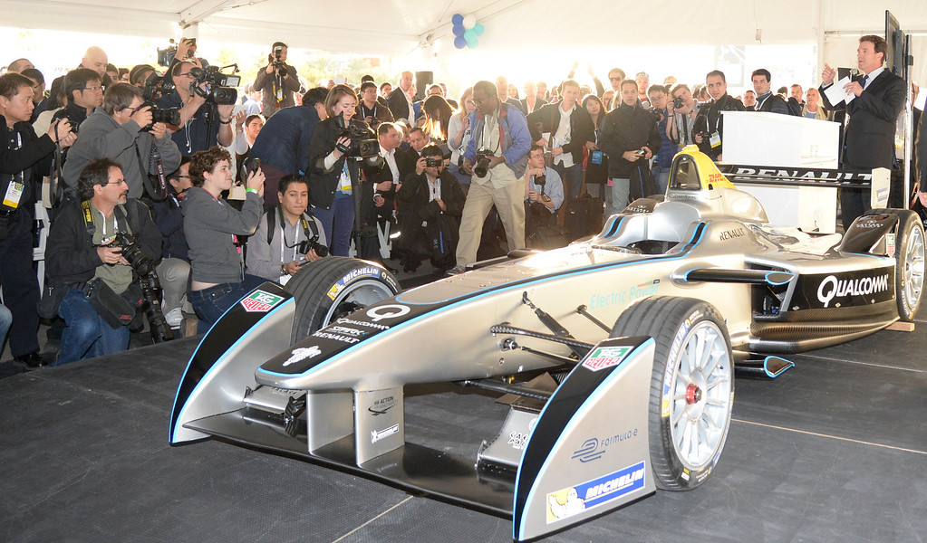 . Jan 6,2014.  Las Vegas NV. USA.  News media gather around the first time appearance in Las Vegas the Qualcomm FIA formula E race car,  during the 2014 CES media day show Monday. The 2014 CES show starts this Tuesday and runs till Friday with a estimated crowd of 150,000 to attend the show.. Photo by Gene Blevins/LA Dailynews