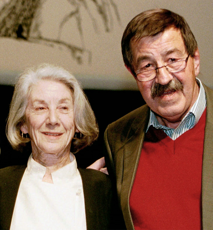 . German writer Guenter Grass, right, South-African writer and nobel prize winner Nadine Gordimer, left,  in Hamburg on October 13, 1997 on occasion of a birthday party for 70-year-old Grass. Grass receives the Nobel Prize for Literature,  the Nobel prize committee announced on Thursday, September 30, 1999, in Stockholm, Sweden. The prize, 1.8 million marks (980.000 dlrs) will be presented on December 10, 1999 in Stockholm.  (AP Photo/Christof Stache)