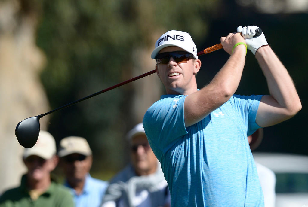 . Hunter Mahan on the 2nd tee during the second round of the Northern Trust Open. Pacific Palisades, CA. February 13, 2014 (Photo by John McCoy / Los Angeles Daily News)