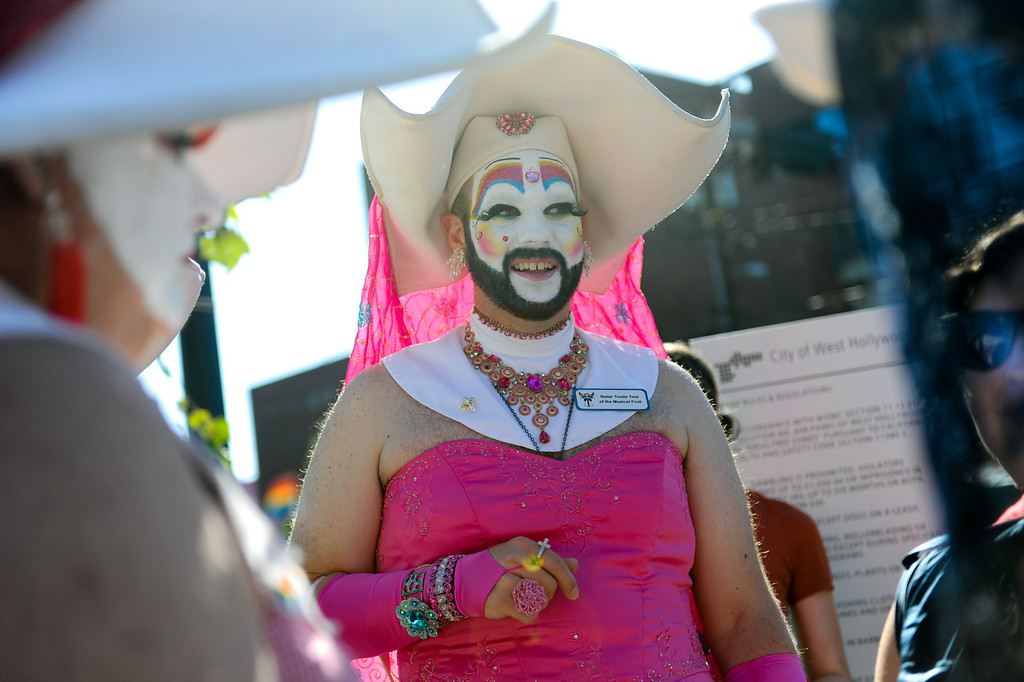""". \""""Sister Tootie Toot of the Musical Fruit\"""" attends a rally in West Hollywood to celebrate the U.S. Supreme Court\'s ruling that killed Prop 8, Wednesday, June 26, 2013. (Michael Owen Baker/L.A. Daily News)"""