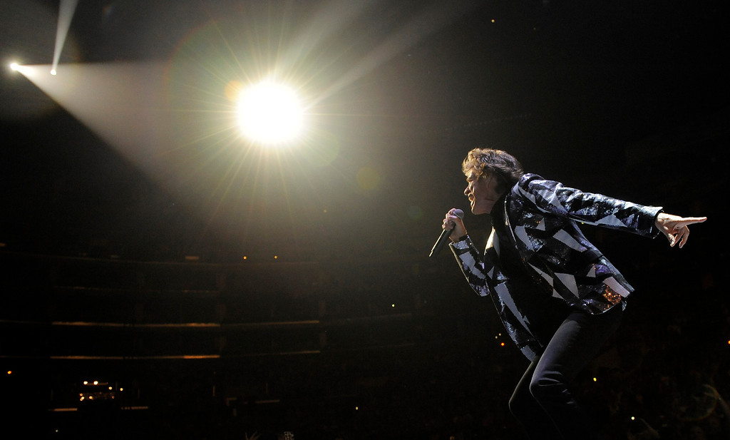 ". Mick Jagger of the Rolling Stones performs on the kickoff of the band\'s ""50 and Counting\"" tour at the Staples Center on Friday, May 3, 2013, in Los Angeles. (Photo by Chris Pizzello/Invision/AP)"
