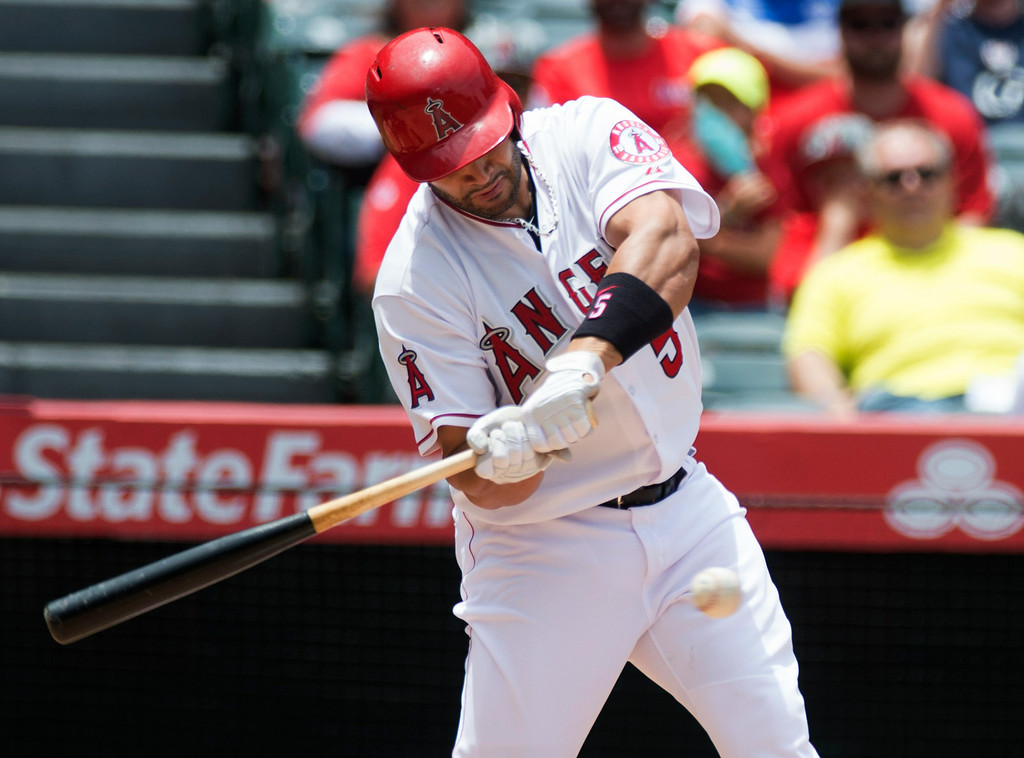 . Angels Albert Pujols (#5) gets a hit scoring a run as they play the Minnesota Twins at Angel Stadium in Anaheim on Thursday June 26, 2014. (Photo by Keith Durflinger/Whittier Daily News)