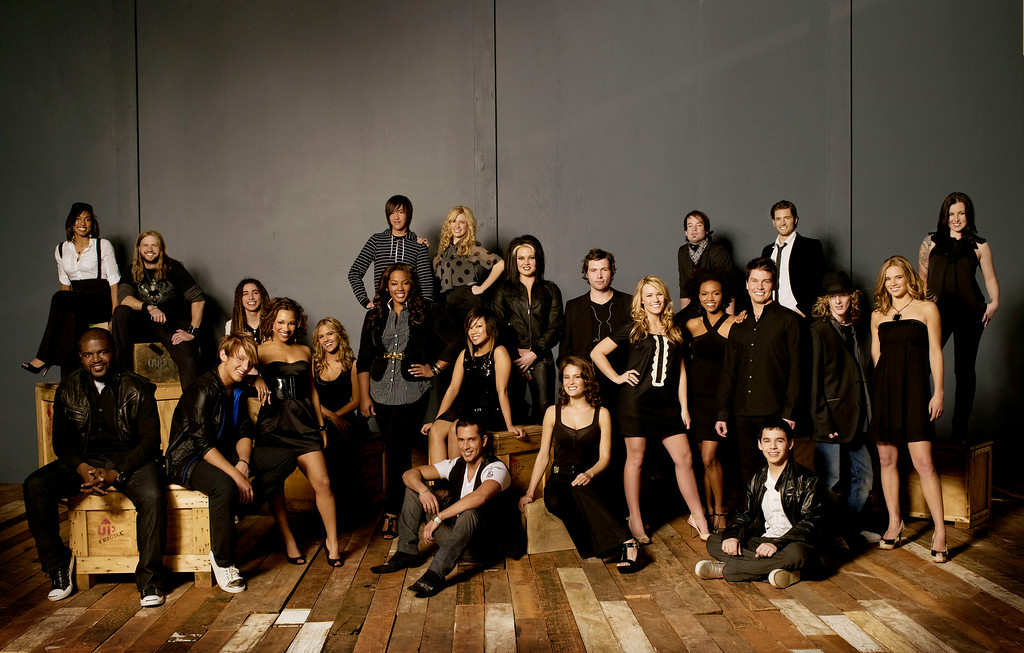 . This undated photo provided Wednesday, Feb. 13, 2008 by Fox shows the 24 American Idol finalists. Back row, from left: Alexandrea Lushington, Robbie Carrico, Jason Castro, Danny Noriega (striped shirt), Brooke White, Amanda Overmyer, Michael Johns, David Cook (bandana), Luke Menard and Carly Smithson (standing far right). Bottom row, from left:  Chikezie Eze, Colton Berry,  Asia\'H Epperson, Kady Malloy (seated, black dress), Joanne Borgella, Ramiele Malubay, David Hernandez (seated, front), Amy Davis, Alaina Whitaker, Syesha Mercado, Jason Yeager, David Archuleta (seated), Garrett Haley and Kristy Lee Cook. (AP Photo/Fox, Timothy White)