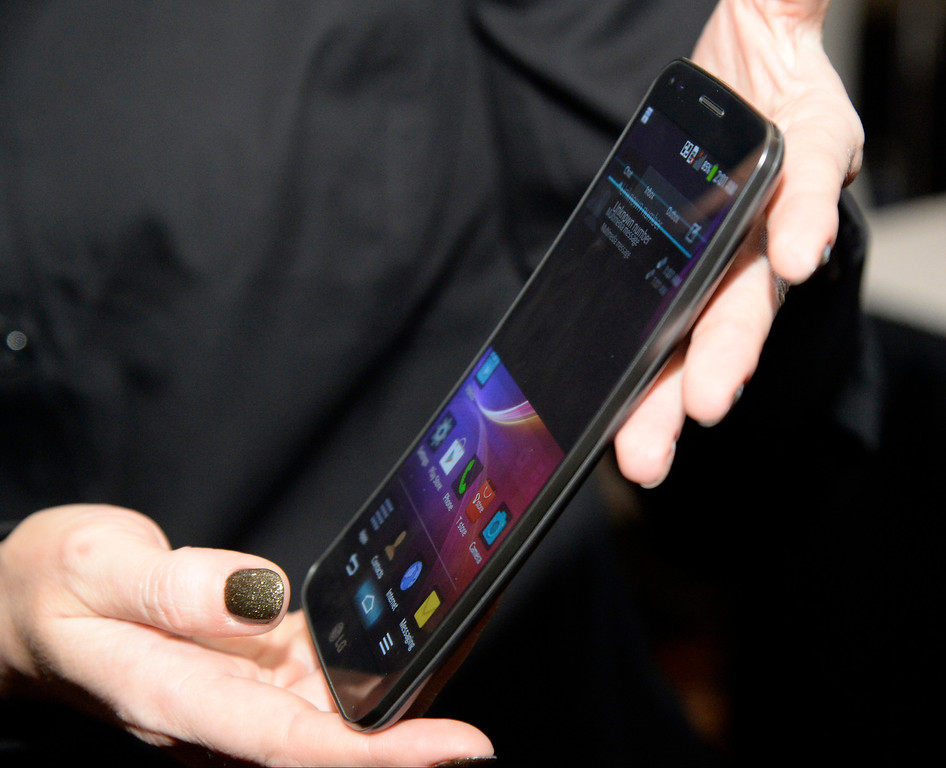 . LG displays its new G Flex smartphone during the 2014 Consumer Electronics Show (CES) on Sunday, June 5, 2014 in Las Vegas, Nevada. The 2014 CES show starts Tuesday, Jan. 7, 2014 and runs until Friday, Jan. 10, 2014 with 150,000 people estimated to attend the show. (Photo by Gene Blevins/Los Angeles Daily News)