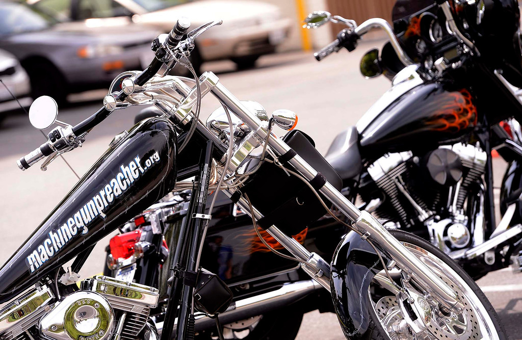 """. Motorcycles and props from the movie \""""Machine Gun Preacher\"""" were on display during Lifepoint Church\'s Picnic at Red Hill Community Park in Rancho Cucamonga May 5, 2013.  GABRIEL LUIS ACOSTA/STAFF PHOTOGRAPHER."""