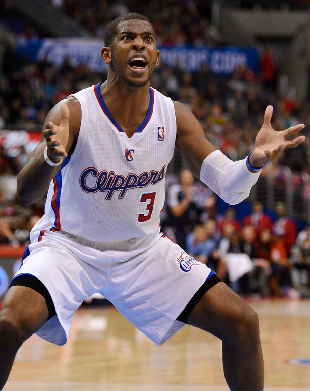 . Los Angeles Clippers\' Chris Paul disagrees with an official during the second half Monday, Nov. 18, 2013, in Los Angeles.  The Clippers lost the game 106-102.(Andy Holzman/Los Angeles Daily News)