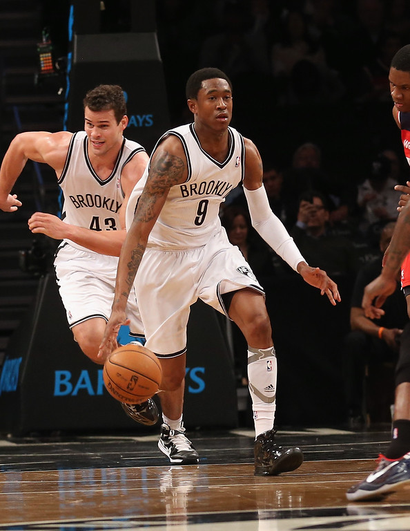 . MarShon Brooks #9 of the Brooklyn Nets dribbles the ball against the Washington Wizards at the Barclays Center on April 15, 2013 in New York City. The Nets defeated the Washington Wizards 106-101.  (Photo by Bruce Bennett/Getty Images)