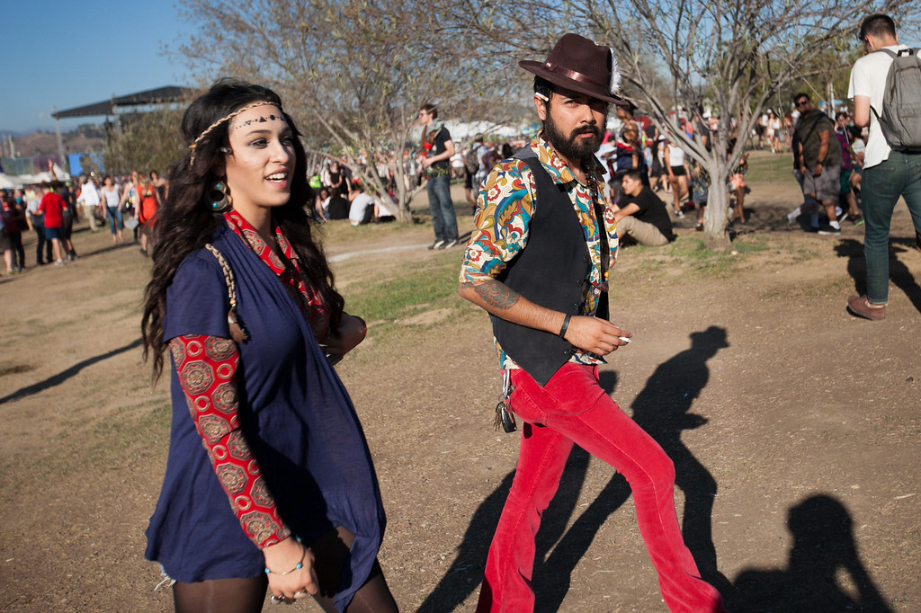 . A groovy couple at the FYF Fest in downtown L.A., Saturday, August 24, 2013. (Michael Owen Baker/L.A. Daily News)