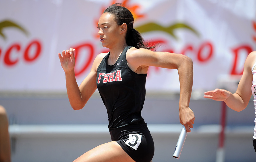 . Flintridge Sacred Heart in the 4x100 relay during the CIF-SS track & Field championship finals in Hilmer Stadium on the campus of Mt. San Antonio College on Saturday, May 18, 2013 in Walnut, Calif.  (Keith Birmingham Pasadena Star-News)