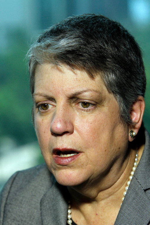 ". In this May 21, 2014, file photo, University of California President Janet Napolitano speaks in Mexico City. Napolitano said Saturday, May 24, 2014, a mass shooting in the community around UC Santa Barbara is ""almost the kind of event that\'s impossible to prevent and impossible to predict.\"" (AP Photo/Marco Ugarte, File)"